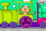 لعبة تلوين الحيوانات داخل القطار على سكة الحديد