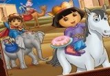 لعبة تلوين دورا على الحصان في القصر