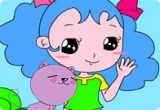لعبة تلوين الطفلة والقطة الاليفة 2014