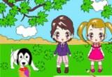 لعبة تلوين الطفلة الكوميدية وصديقها المرح في المنتزه