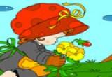 لعبة تلوين ازياء عيد فتاة الورد